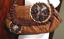 MARY FRANCES brown faux leather ruffle beaded rhinestone hand bag purse clutch