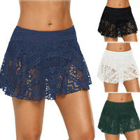 Women's Lace Crochet Skirted Bikini Bottom Swimsuit Short Skort Beach Swim Skirt