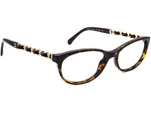 Chanel Eyeglasses 3268-Q C.714 Tortoise/Gold & Leather Frame Italy 53[]17 140