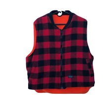 Codet Reversible Vest Wool Buffalo Plaid Blaze Orange Fleece Men's L to XL
