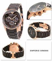NEW GENUINE EMPORIO ARMANI AR5890 ROSE GOLD SILICONE CHRONO MENS WATCH RRP £389