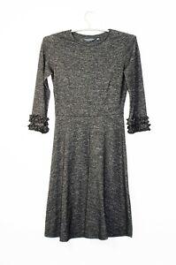 Dorothy Perkins Midi Kleid Gr. 36 Tall Grau 3/4 Arm mit Rüschen Langgröße Herbst