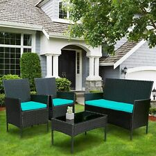 Outdoor Patio Rattan Wicker Table Sofa Furniture Set +/w Cushions 4PCS
