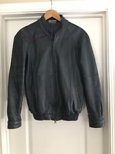 BMW 1980s Vintage LEATHER Cafe Racer Jacket Mens USA LARGE Grosse 48 Small
