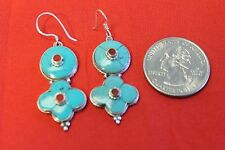 D18 HAND MADE TIBETAN STERLING SILVER .925 EARRING TURQUOISE MADE IN NEPAL