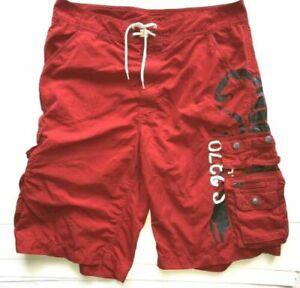 Polo Ralph Lauren Men's Red Swim Trunk Scorpion Logo Cargo Board Shorts Sz 38