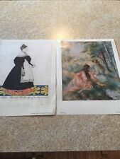 """OLD ART PRINT, """"IN THE MEADOW"""", BY RENOIR and ESTHER TUTTLE by JOSEPH H. DAVIS"""