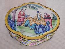 Boite ancienne en émail de Canton,Chine,XIX°.Vase,plat.Emaux,Signée.