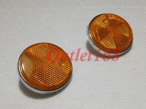 Pair Honda ATC90 CB CL CM SL XL ST ZB50 Front Reflector Amber Reflex ⌀6cm Chrome