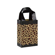 25 Leopard Print Frosted Plastic Handle Bags Gift Party Merchandise Retail 5x3x7