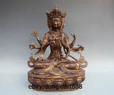 """17"""" China Pure Bronze Gild Ushnisha Vijaya  Kwan-yin Bodhisattva Guanyin Statue"""