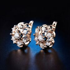 Fashion Promise 18K Gold Filled Swarovski Crystal Clip On Flower Stud Earrings