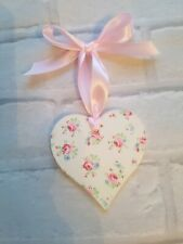 Shabby Chic Ditsy Pink Florals Wooden Heart