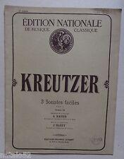 ) partition ancienne 3 sonates faciles - Kreutzer - piano et violon