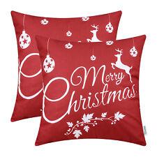 2Pcs Throw Pillows Covers Case Shells Christmas Reindeer Stars Lantern Home Sofa