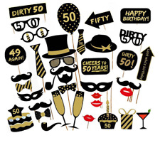 36PCS 50th Fiftieth Year Birthday Party Masks Favor Photo Booth Props On A Stick