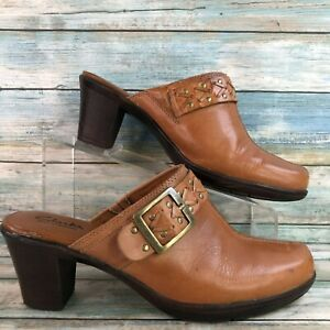 Clarks Womens Brown Leather Mules Block High Heel Slip On Round Toe Size 9.5M