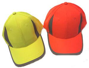 Hi Visibility Reflective Baseball Cap Hi Viz Hi Vis Yellow or Orange