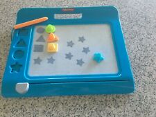Used Fisher Price Doddle Pro Super Stamper Drawing Board with 4 Stamps Blue
