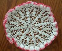 """Hand Crocheted White and Pink Double Ruffle Doily, 9 1/2"""" Diameter vintage"""