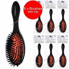 6 x Hair Extension Brushes LIBERTY Oval Cushion Soft Bristles Flat Back PACK 6