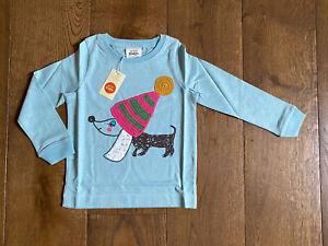 BNWT - Super Mini Boden Girls Blue Crochet Puppy Dog 2-3 Yrs Christmas Winter