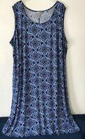 NEW Catherines 4X 5X Fluid Tank Sleeveless Dress Straight Poly/Spx Blue