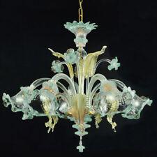 Ca' venier lustre en verre de Murano 5 lumières cristal or bleu clair