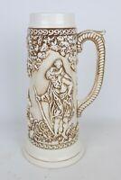 """Vintage Atlantic Mold 4607 Glazed/Painted Ceramic Mug Beer Stein - 13.25"""" Tall"""