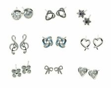 Sterling Silver 925 Crystal CZ Stud Earrings - Various Designs All Boxed