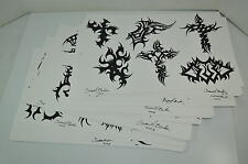 ORIGINAL Drawn Tribal Tattoo Flash Signed by Samuel Barker  (Wall Art) LOT of 30