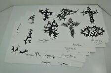 ORIGINAL Drawn Tribal Tattoo Flash Signed by Samuel Barker  (Wall Art) LOT of 30