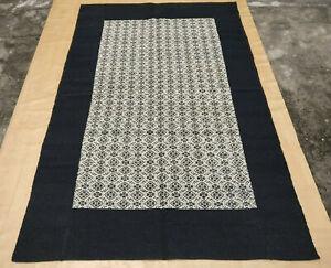 Black Tribal Turkish Flat Weave Kilim Wool Dhurrie Rug Hand Woven Area Rugs 5x8