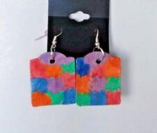 Handmade Hand Painted Wood Earrings
