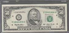1993 (D) $50 Fifty Dollar Bill Federal Reserve Note Cleveland Vintage Money NICE
