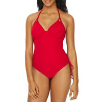 Miss Mandalay RUBY RED Icon Halter Plunge One Piece Swimsuit, US 34F, UK 34E
