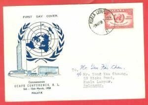 Malaysia Malaya Federation ECAFE 12c on FDC Cover 1958