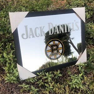 "Jack Daniels Boston Bruins NHL Hockey Beer Bar Man Cave Mirror ""New"""