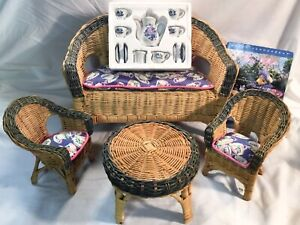 Nabco MUFFY VANDERBEAR Mommy and Me Tea Set & Wicker Furniture