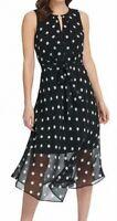 DKNY Womens Midi Dress Black White Size 4 Buckle Keyhole Polka Dot $129- 085