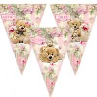 Personalised Bunting Banner Birthday, Baby shower, I Am One, It's A Girl Pink