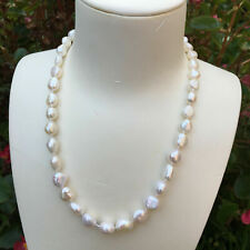 Natural Freshwater Pearl White Necklace 48cm 9k Gold Link