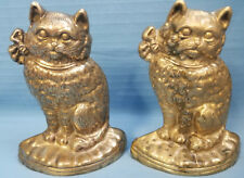 Brass Kitties 2 Kitty Cat Bookends Door Stops Figurines Statues Metal