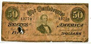 """$50 """"CONFEDERATE"""" 1800'S   (RARE NOTE) 1800'S """"CONFEDERATE"""" 1800'S $50 RARE!!!"""