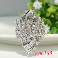 Fashion Luxury Flower Zircon Ring Women Silver Color Simulated Diamond Jewelry