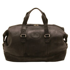 Rowallan - Black Cowhide Leather Travel Bag/Holdall with Shoulder Strap