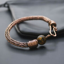 Viking knit natural Baltic amber bracelet 17 gr solid copper