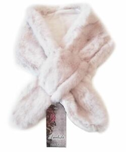 MADE IN ITALY - Luxury White Faux Fur Scarf Wrap Shawl Collar Neck Warm Soft