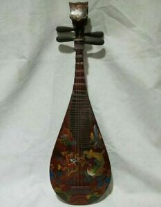 35'' Chinese Wood Lacquerware Singing Four String Instrument Pipa Guitar Statue