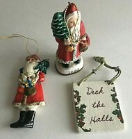"VTG Christmas Ornaments Ceramic Santa Claus 4"" & Flavia Legacy Deck the Hall 2"""